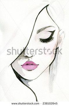 Watercolor illustration of pretty woman.