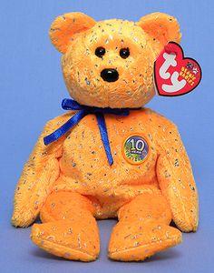 Decade (orange) - Bear - Ty Beanie Babies Rare Beanie Babies 181082d36a36