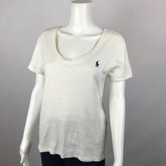 Ralph Lauren Top Womens Tee Shirt V Neck Purple Pony Short Sleeves Size Large #RalphLauren #KnitTop #Casual