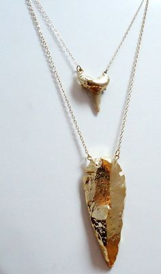 Gold Arrowhead Necklace Large by pinejewelry on Etsy