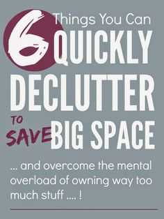 Oh my clutter gets me down!! But I managed to clear loads of space with these 6 quick jobs ...
