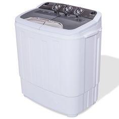 8 lbs Compact Mini Twin Tub Washing Machine Washer Spiner - Washing Machines - Laundry Appliances - Household Appliances - Home & Garden Compact Washing Machine, White Washing Machines, Mini Washing Machine, Camping Washing Machine, Bathtub Drain, Whirlpool Bathtub, Spin Dryers, Laundry Appliances, Small Appliances