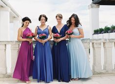 Bridesmaids in Blue and Purple   photography by @rochellecheever  http://rochellecheever.com/