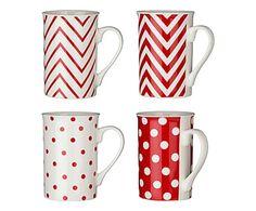 Set di 4 mug in porcellana rosso Chevron - 10x7x10 cm