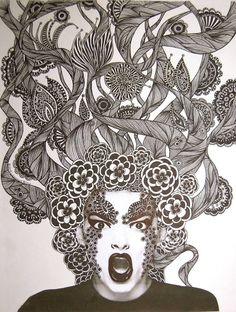 "Saatchi Art Artist Linda Lovenstein; Drawing, ""TV Glotzer SOLD"" #art"