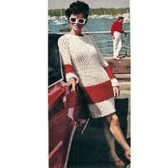 MCC-SS-1968 Big Needle Knit :  This pattern contains instructions to knit, crochet edges, the dress pictured above.  The jumbo knit is speedily made on big, one inch needles with three different stand