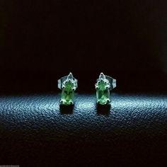 14k white gold diamond green peridot stud earrings .58 ct #GDD #Stud