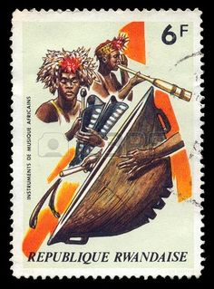 RWANDA - CIRCA 1973. Vintage canceled postage stamp with african musical instruments and traditional musicians illustration, circa 1973.