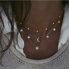 Multi-Layered My Stars and Moon Necklace Choker Crescent Galaxy Boho Bohemian #Unbranded #Choker Crystal Necklace, Sterling Silver Necklaces, Beaded Necklace, Gold Necklace, Pendant Necklace, Layer Necklace, Hanging Necklaces, Jewelry Necklaces, Bracelets