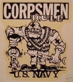 US NAVY CORPSMAN They Call Us Doc VINYL STICKER/DECAL Art by ...