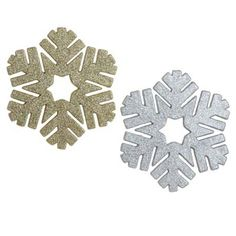 """RAZ 12"""" Gold and Silver Glittered Snowflake Christmas Ornament Set of 2"""