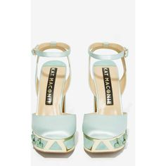 Nasty Gal x Kat Maconie Elise Satin Platform (£120) ❤ liked on Polyvore featuring shoes, pumps, ankle strap high heel pumps, high heel shoes, ankle strap shoes, light blue pumps and high heel platform pumps