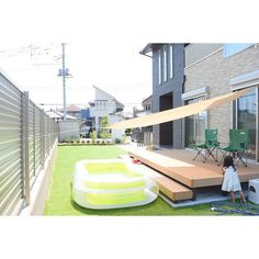 Whole room / shade / garden / simple natural / simple inte - Modern Backyard Fences, Backyard Landscaping, Rattan Outdoor Furniture, Outdoor Spaces, Outdoor Decor, Terrace Garden, Shade Garden, Garden Plants, Ideal Home