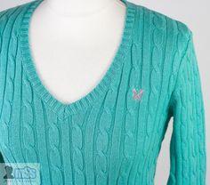 CREW CLOTHING Cable Knit V Neck Jumper Mint Green sz 8 UK  S VGC Winter
