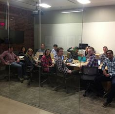 The team celebrates flannel Friday
