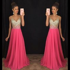 Cheap prom dresses, Buy Quality prom dresses long directly from China prom dresses prom Suppliers: 2017 Hot Sale V-Neck Prom Dress Long Party Gowns Shiny Crystal Beading Chiffon Formal Evening Dress Custom Vestidos De Novia Pageant Dresses For Teens, Homecoming Dresses Long, V Neck Prom Dresses, Best Prom Dresses, Beautiful Prom Dresses, Prom Party Dresses, Prom Gowns, Dress Prom, Formal Dresses