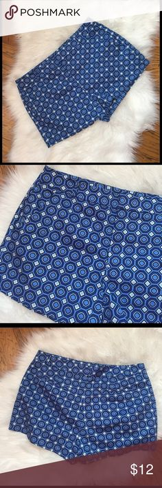 Forever 21 blue geometric print shorts size L These shorts are in excellent condition and perfect for the summer!  They have side pockets. Size L with measurements of 16 in waist and 2 in inseam. (3104b) Forever 21 Shorts