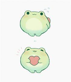 cute drawing ideas for teens - Kanata Cute Animal Drawings Kawaii, Cute Little Drawings, Kawaii Art, Cute Drawings, Frog Drawing, Frog Art, Dibujos Cute, Cute Frogs, Cute Stickers