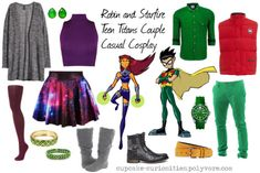Robin and Starfire Teen Titans Couple Casual Cosplay Casual Cosplay, Cosplay Outfits, Cosplay Costumes, Cosplay Ideas, Costume Ideas, Teen Titans Outfits, Batman Outfits, Princess Inspired Outfits, Disney Inspired Fashion