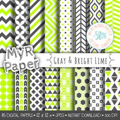 "#pattern Geometric Digital Paper Pack: ""Gray & Bright Lime"" geometric patterns for scrapbooking, invites, cards - printable - Backgrounds di MyRpaper su Etsy"
