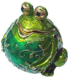 Frog Figure Crystals Jewellery Jewelry Trinket Ring Box