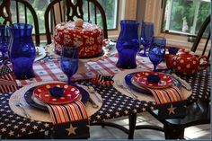 Tablescape for Memorial Day or Fourth of July