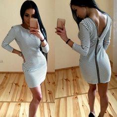 Women V Back Zipper Package Hip Bodycon Pencil Dress Stripe Long Sleeve Mini Dress