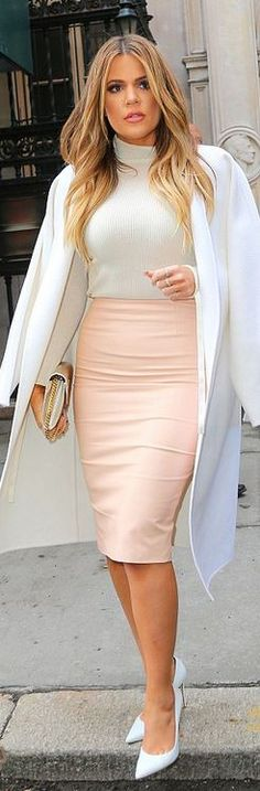 White coat, pink skirt, pumps, and nude quilted handbag