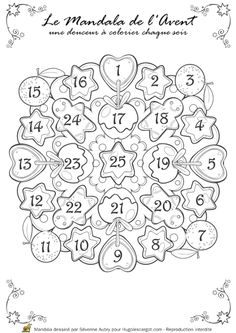Coloriage mandala noel calendrier avent Christmas Crafts For Kids, Christmas Activities, Christmas Printables, Christmas Colors, Christmas Fun, Holiday Crafts, Bujo Doodles, Bullet Journal Key, French Christmas