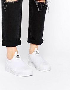 adidas Originals – Superstar – Weiße, schnürlose Turnschuhe