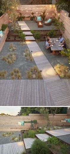 Landscaping Design Ideas - 11 Backyards Designed For Entertaining | Despite it's small size, three separate spaces exist in this fully landscaped backyard to accommodate dining, lounging, and socializing making it an ideal space for hosting guests and throwing dinner parties.