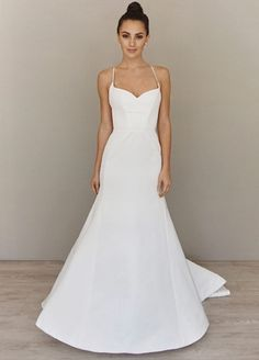 Sweetheart Fit and Flare Wedding Dress  with Natural Waist in Silk Taffeta. Bridal Gown Style Number:33373358
