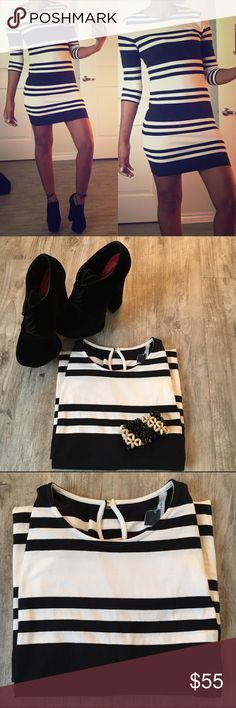 Sexy French Collection!  Very sexy fitted dress w/ vertical black and white stripes. Tear drop at the back of the neck. Wore once, great condition ⚠️Price is firm ⚠️ French Connection Dresses