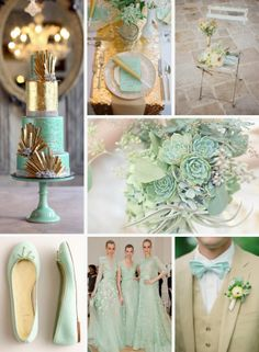 mint and gold wedding, love minus the brown suits and now ties (yuck!)