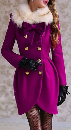 CASHMERE WOOLEN TULIP SKIRT FAUX FUR COLLAR DOUBLE BREASTED COAT DRESS - MAGENTA