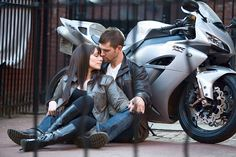 Motorcycle Engagement Photo by: Yorke Photography have to do this one!!! Especially since Chase has one!!!