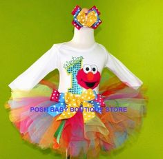 #MC Elmo Colorful Rainbow Splash Girls Tutu Birthday Outfit by PoshBabyStore.com