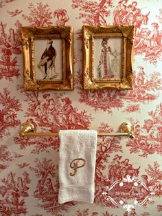 Haus 137 Be Book Bound: Pride and Prejudice: A Toile Powder Room How to choose contemporary Rattan w French Country Bedrooms, French Country House, French Country Decorating, Country Bathrooms, Chic Bathrooms, Guest Bathrooms, Toile Wallpaper, Bathroom Wallpaper, Bathroom Blinds