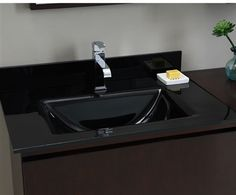 Xylem Black Glass Vanity Top with Integrated Rectangular Bowl GSTXXXBK