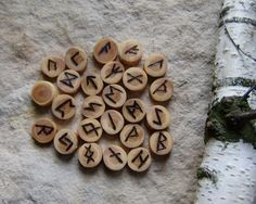 Larch Rune Set,  Elder Futhark rune set, hand made rune set, witches rune set, tool for wiccans and pagan rituals by WitchTools on Etsy