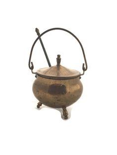 Antique Smudge Pot, Brass Fire Starter Kettle With Pumice Wand, Brass Fireplace Starter, Vintage Home Decor