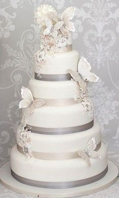 Butterflies are one of the symbols of natural beauty, and they are so cute! Incorporate them into your spring or summer wedding decor, especially . wedding 66 Wonderful Butterfly Wedding Ideas To Try Elegant Wedding Cakes, Beautiful Wedding Cakes, Gorgeous Cakes, Wedding Cake Designs, Pretty Cakes, Trendy Wedding, Fall Wedding, 4 Tier Wedding Cakes, Spring Wedding Cakes