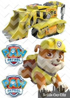RUBBLE and Vehicle ~ Paw Patrol Printable Shirt Iron On  ~ INSTANT DOWNLOAD ~