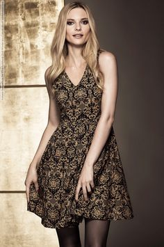 gold-patterned lbd | Fabiana Semprebom for Ellos Fall-Winter 2013