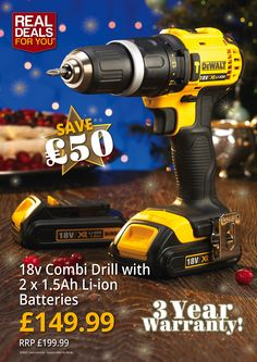 Dewalt 18v Combi Drill with 2 x 1.5Ah Li-Ion Batteries. More and product video here: http://www.tradingdepot.co.uk/DEF/product/!!XMS14COMBI!!/