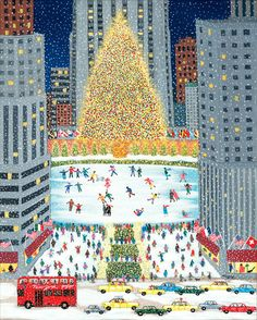 """""""Ice Skating at Rockefeller Center"""" painting by Patricia Palermino Christmas Scenes, Merry Little Christmas, Noel Christmas, Vintage Christmas Cards, Winter Christmas, All Things Christmas, Christmas Crafts, Xmas, Christmas Illustration"""