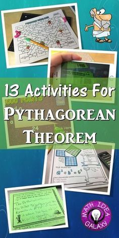 Engaging activities and resources to use when teaching about the Pythagorean Theorem. Includes activities for bill ringers, math stations, additional practice, and more. Math Tutor, Math Teacher, Math Classroom, Teacher Tools, Classroom Ideas, Algebra Activities, Math Resources, Numeracy, Math Games