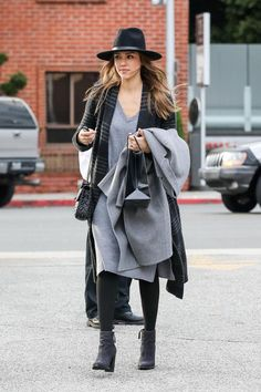 Look who it is. Jessica Alba keeping it cosy in Mongolian cashmere.