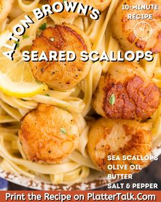 Learn how to make scallops with this easy recipe from Alton Brown, made by Platter Talk. How To Make Scallops, Olive Oil Butter, Sea Scallops, Scallop Recipes, Alton Brown, Seafood Dinner, Kid Friendly Meals, Recipe Of The Day, Recipe Using