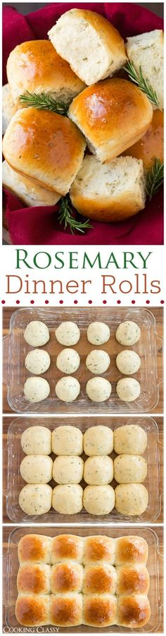 Rosemary Dinner Rolls - Light and fluffy and full of fresh rosemary flavor. Great dipped in olive oil and cracked pepper dinner rolls Rosemary Dinner Rolls - Cooking Classy Fall Recipes, Holiday Recipes, Recipes Dinner, Dinner Ideas, Christmas Recipes, Christmas Parties, Christmas Treats, Dinner Dishes, Christmas Christmas